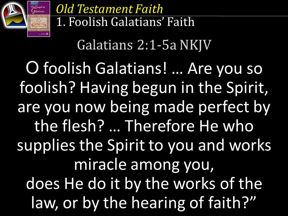 Old Testament Faith 1. Foolish Galatians' Faith Galatians 2:1-5a NKJV O foolish Galatians! … Are you so foolish? Having begun in the Spirit, are you n