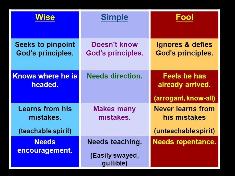 WiseSimpleFool Seeks to pinpoint God s principles.