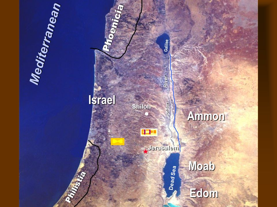 Phoenicia Philistia Israel Jerusalem Dead Sea Galilee Jordan River © Mediterranean Edom Moab Ammon Nations of Canaan Shiloh