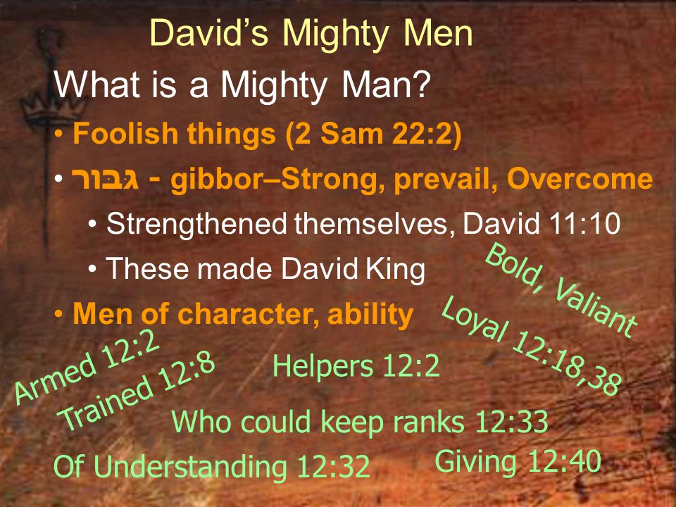 David's Mighty Men What is a Mighty Man? Foolish things (2 Sam 22:2) גּבּור - gibbor–Strong, prevail, Overcome Strengthened themselves, David 11:10 Th
