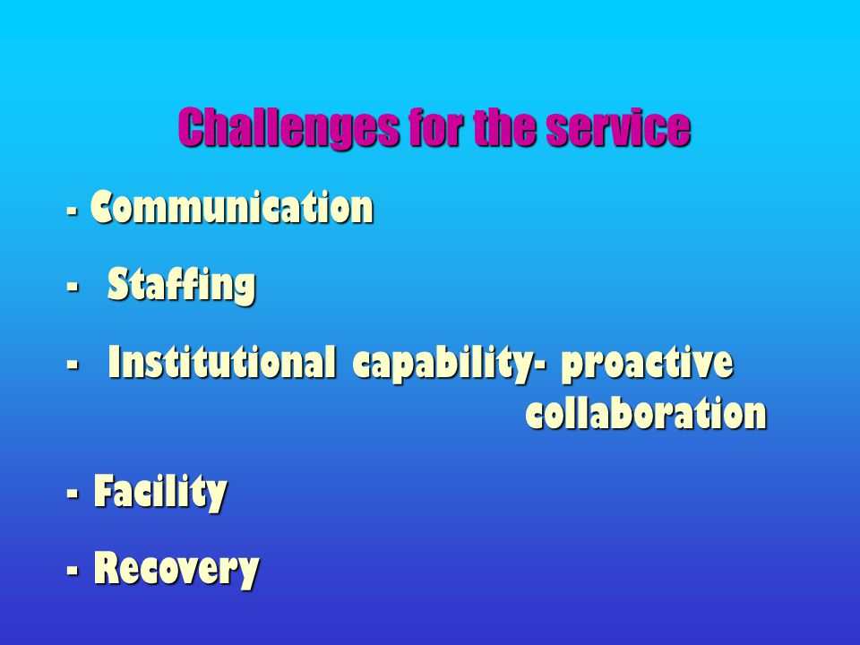 Challenges for the service - Communication - Staffing - Institutional capability- proactive collaboration - Facility - Recovery
