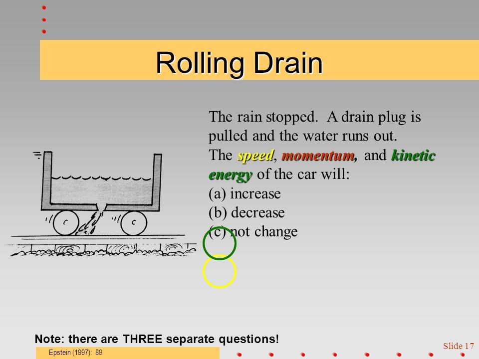 Slide 16 Rolling in the Rain momentumspeedkinetic energy An open car rolls in a vertically- falling downpour.