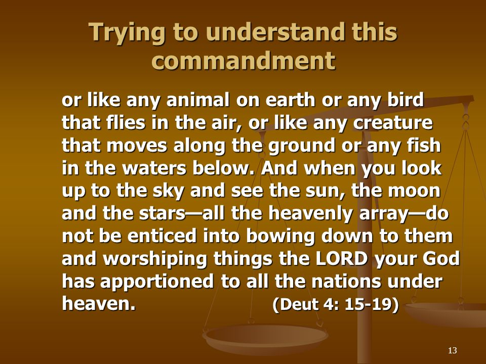 13 Trying to understand this commandment or like any animal on earth or any bird that flies in the air, or like any creature that moves along the grou