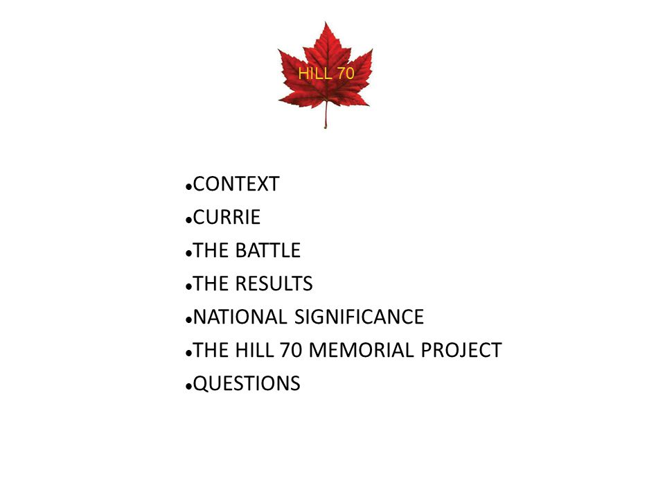 CONTEXT CURRIE THE BATTLE THE RESULTS NATIONAL SIGNIFICANCE THE HILL 70 MEMORIAL PROJECT QUESTIONS HILL 70