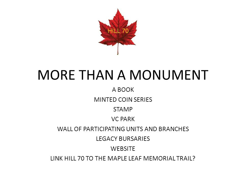 MORE THAN A MONUMENT A BOOK MINTED COIN SERIES STAMP VC PARK WALL OF PARTICIPATING UNITS AND BRANCHES LEGACY BURSARIES WEBSITE LINK HILL 70 TO THE MAP