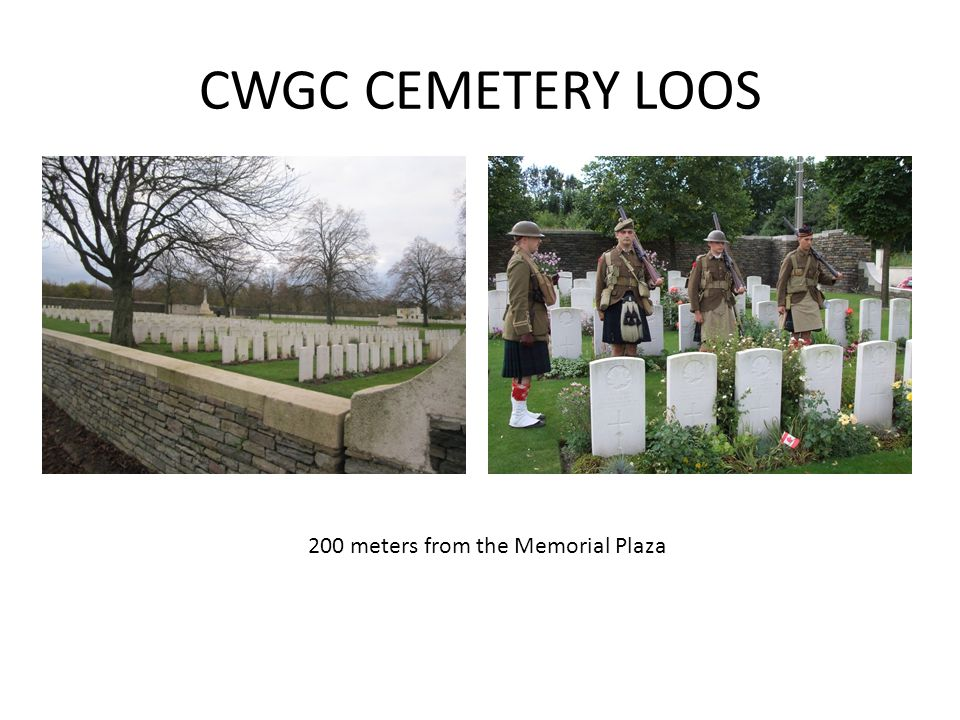 CWGC CEMETERY LOOS 200 meters from the Memorial Plaza