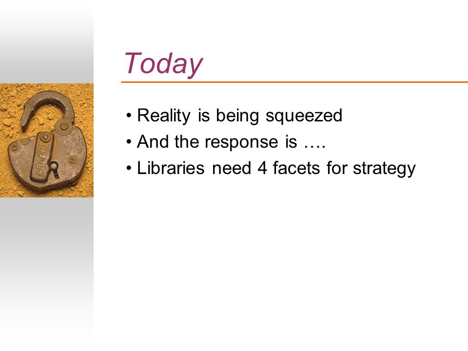 Today Reality is being squeezed And the response is …. Libraries need 4 facets for strategy