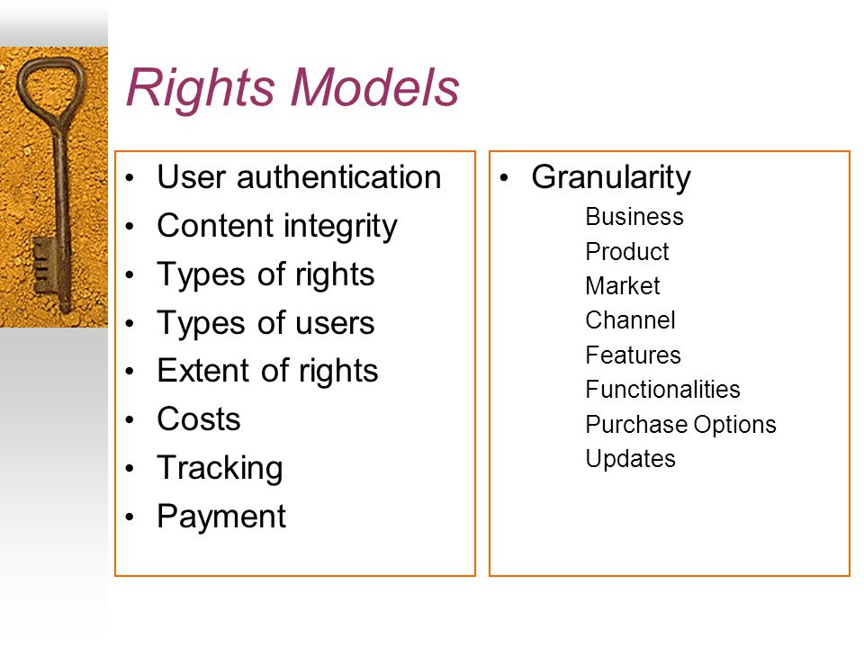 Rights Models User authentication Content integrity Types of rights Types of users Extent of rights Costs Tracking Payment Granularity Business Product Market Channel Features Functionalities Purchase Options Updates