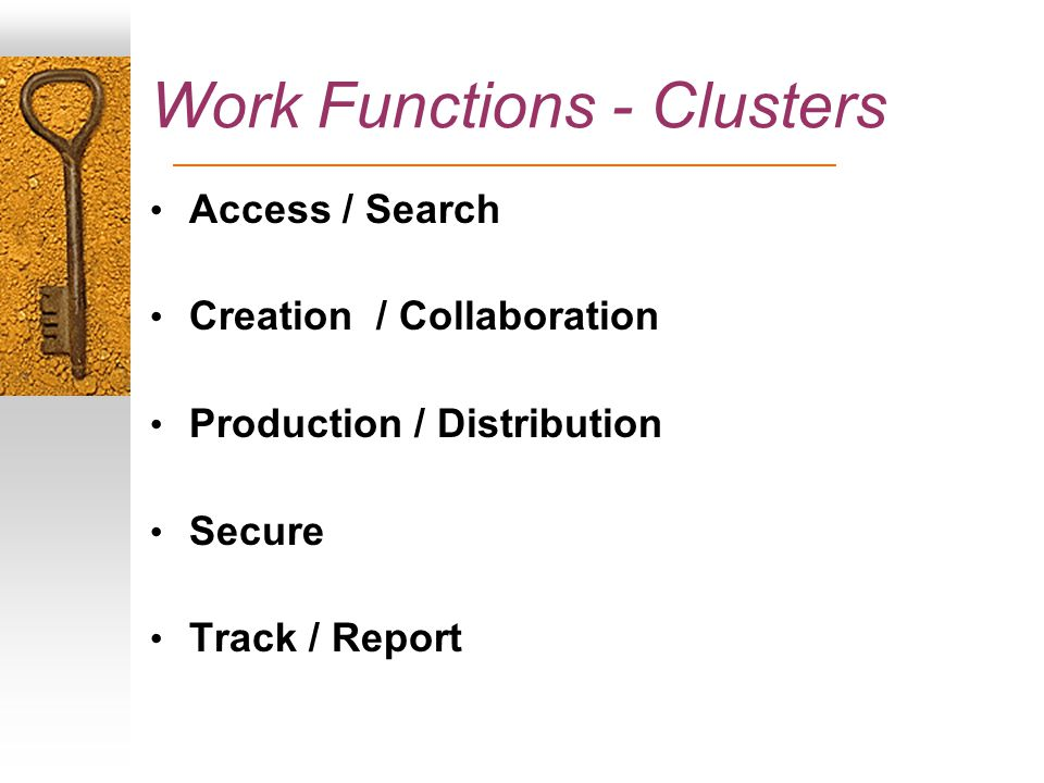 Work Functions - Clusters Access / Search Creation / Collaboration Production / Distribution Secure Track / Report