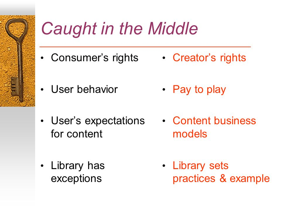 Caught in the Middle Consumer's rights User behavior User's expectations for content Library has exceptions Creator's rights Pay to play Content business models Library sets practices & example