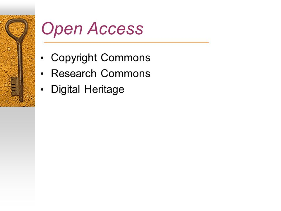 Open Access Copyright Commons Research Commons Digital Heritage