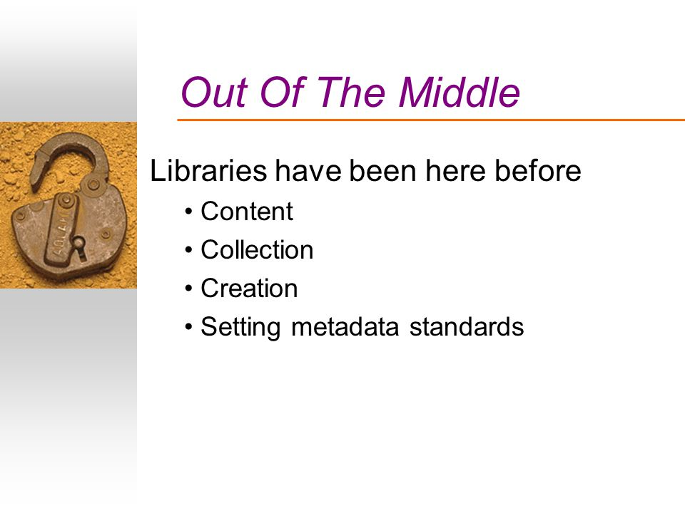 Out Of The Middle Libraries have been here before Content Collection Creation Setting metadata standards