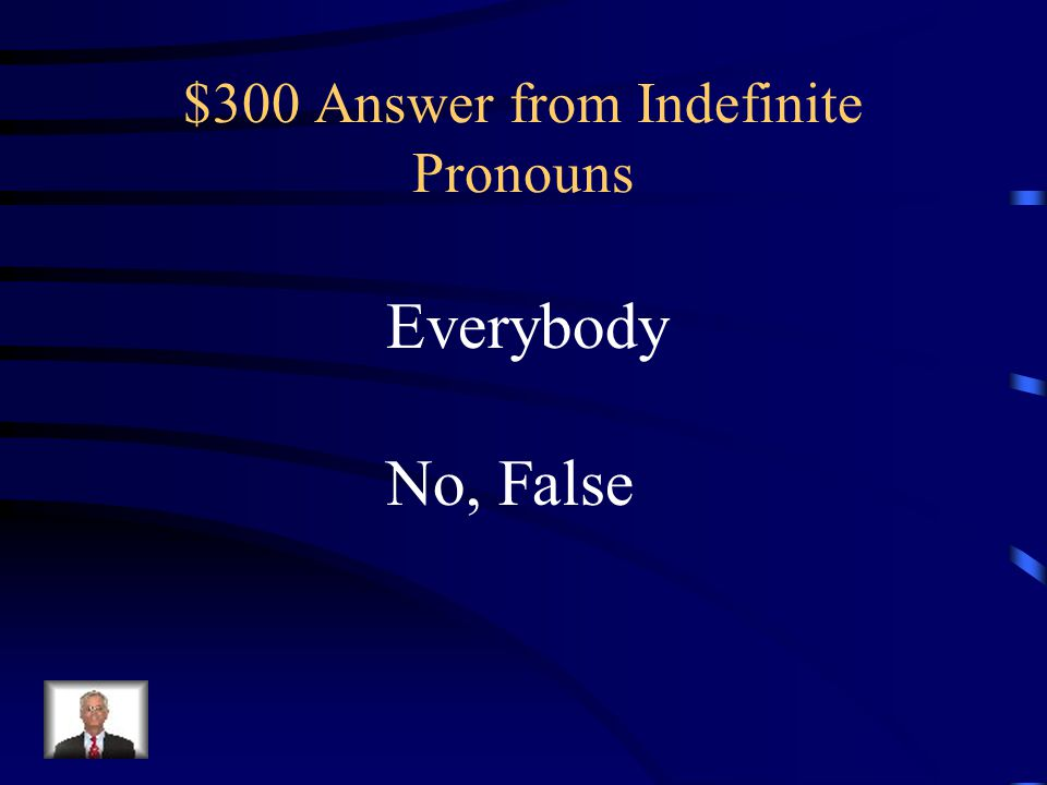 $300 Question from Indefinite Pronouns Is the indefinite pronoun in the sentence below singular? Everybody in the band is very talented.