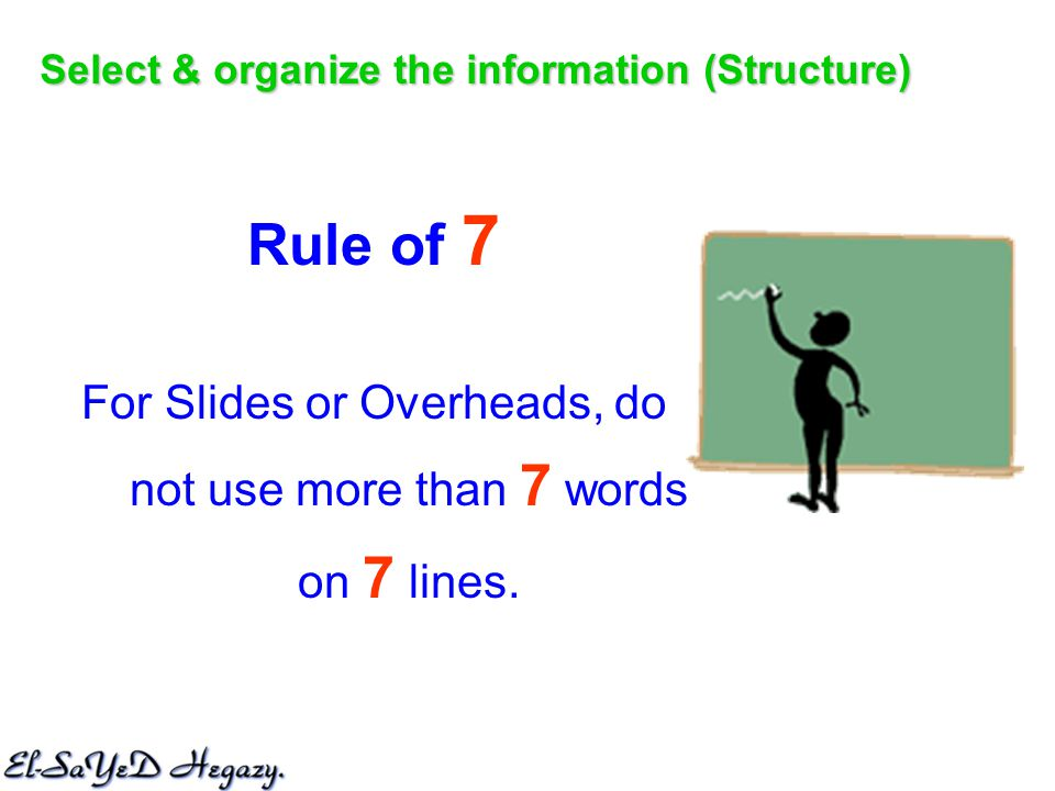 Rule of 7 For Slides or Overheads, do not use more than 7 words on 7 lines.