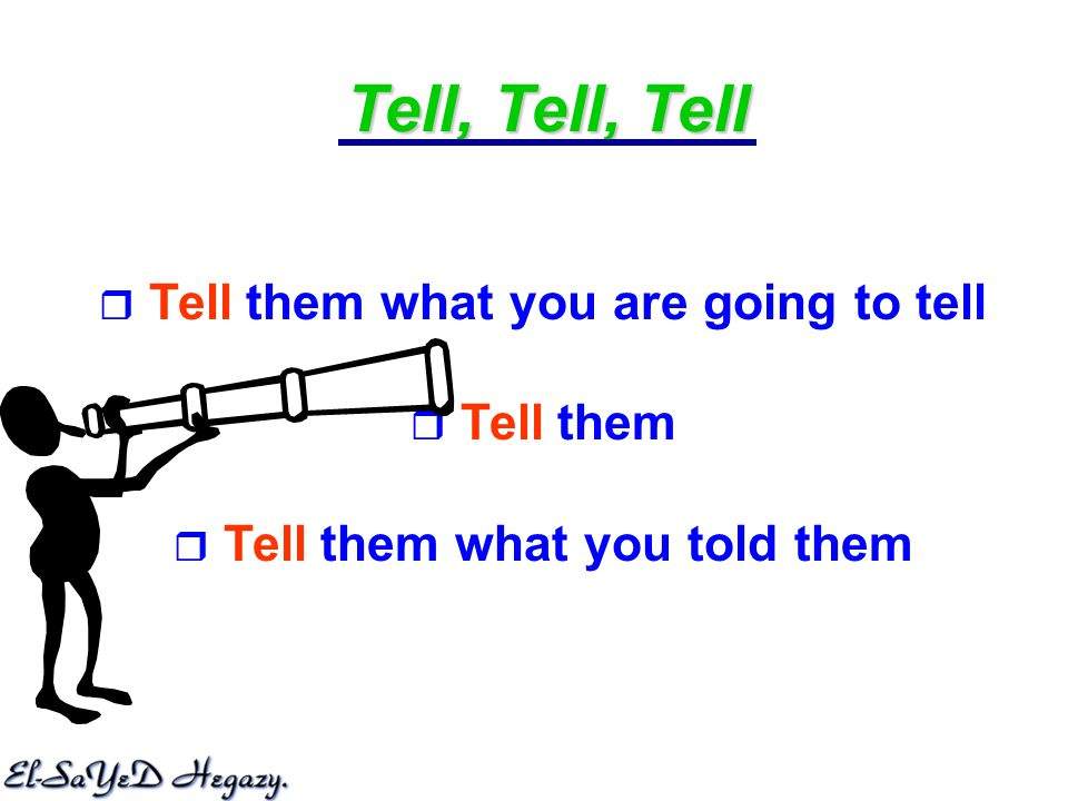 Tell, Tell, Tell  Tell them what you are going to tell  Tell them  Tell them what you told them