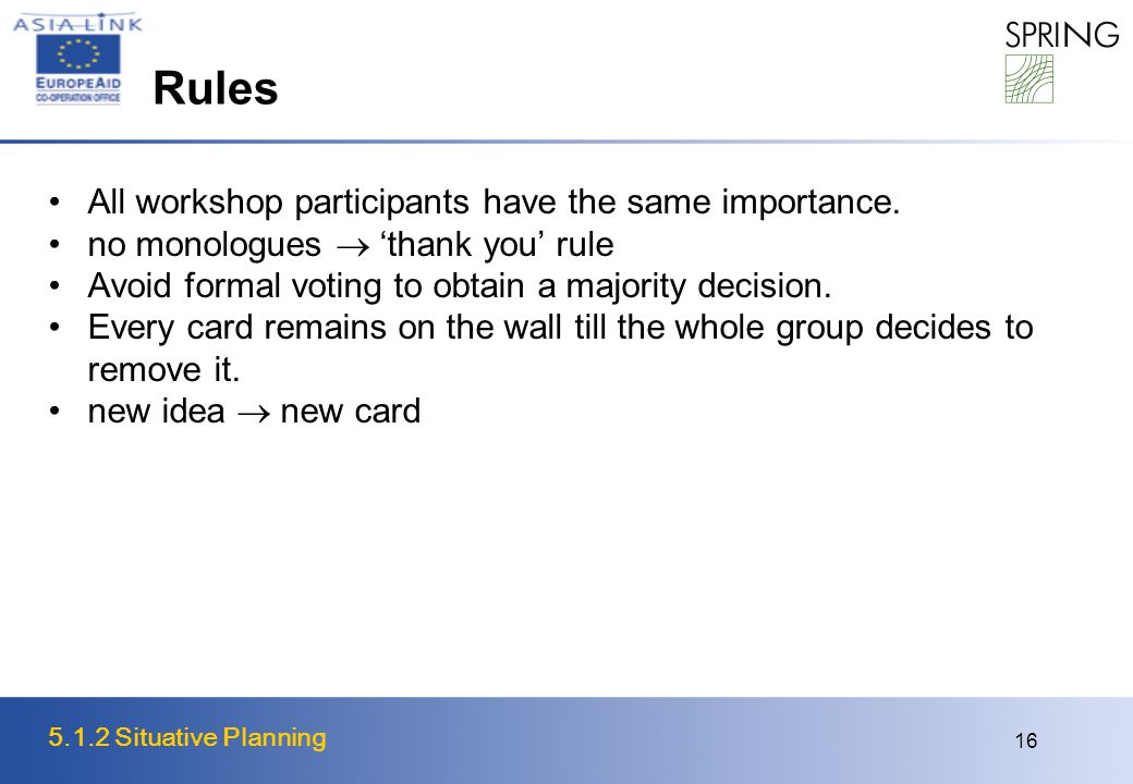 5.1.2 Situative Planning 16 Rules All workshop participants have the same importance.