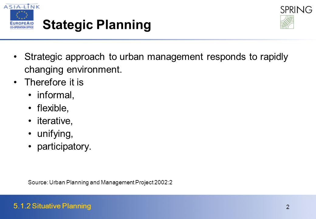 5.1.2 Situative Planning 2 Stategic Planning Strategic approach to urban management responds to rapidly changing environment.