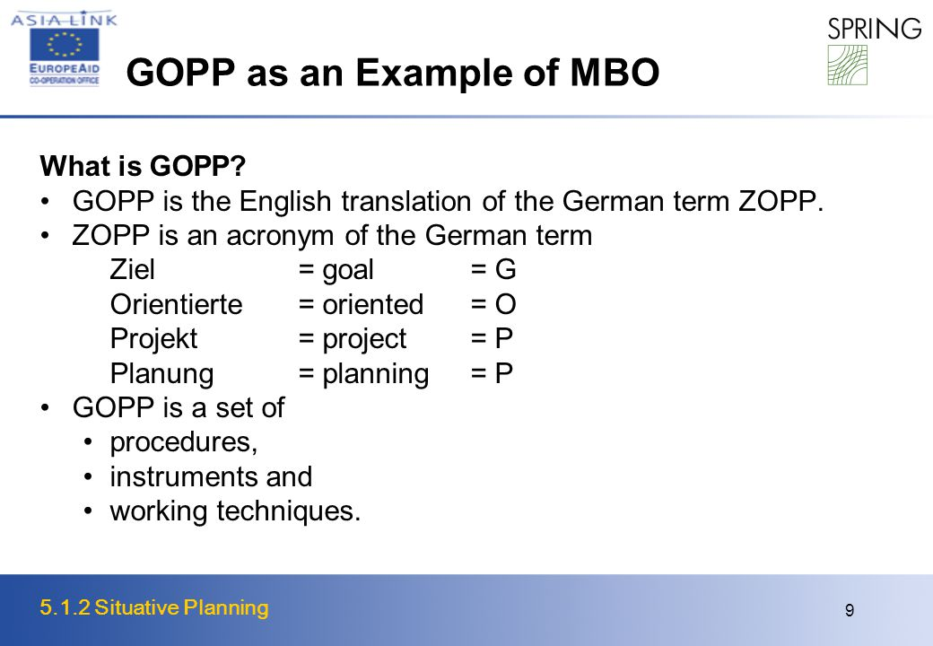 5.1.2 Situative Planning 9 GOPP as an Example of MBO What is GOPP? GOPP is the English translation of the German term ZOPP. ZOPP is an acronym of the