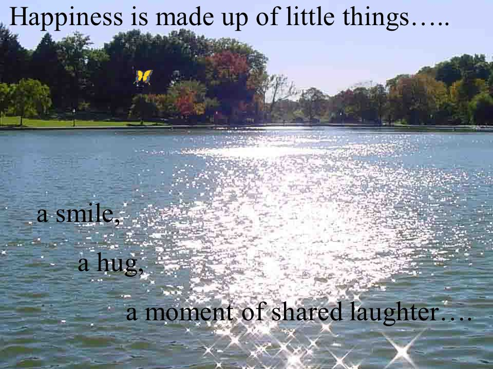 Happiness is made up of little things….. a smile, a hug, a moment of shared laughter….