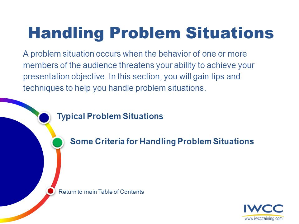 Handling Problem Situations A problem situation occurs when the behavior of one or more members of the audience threatens your ability to achieve your