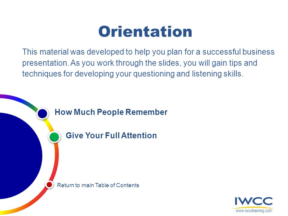 Orientation This material was developed to help you plan for a successful business presentation. As you work through the slides, you will gain tips an