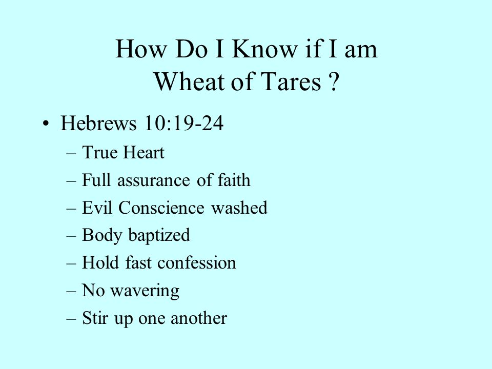How Do I Know if I am Wheat of Tares .