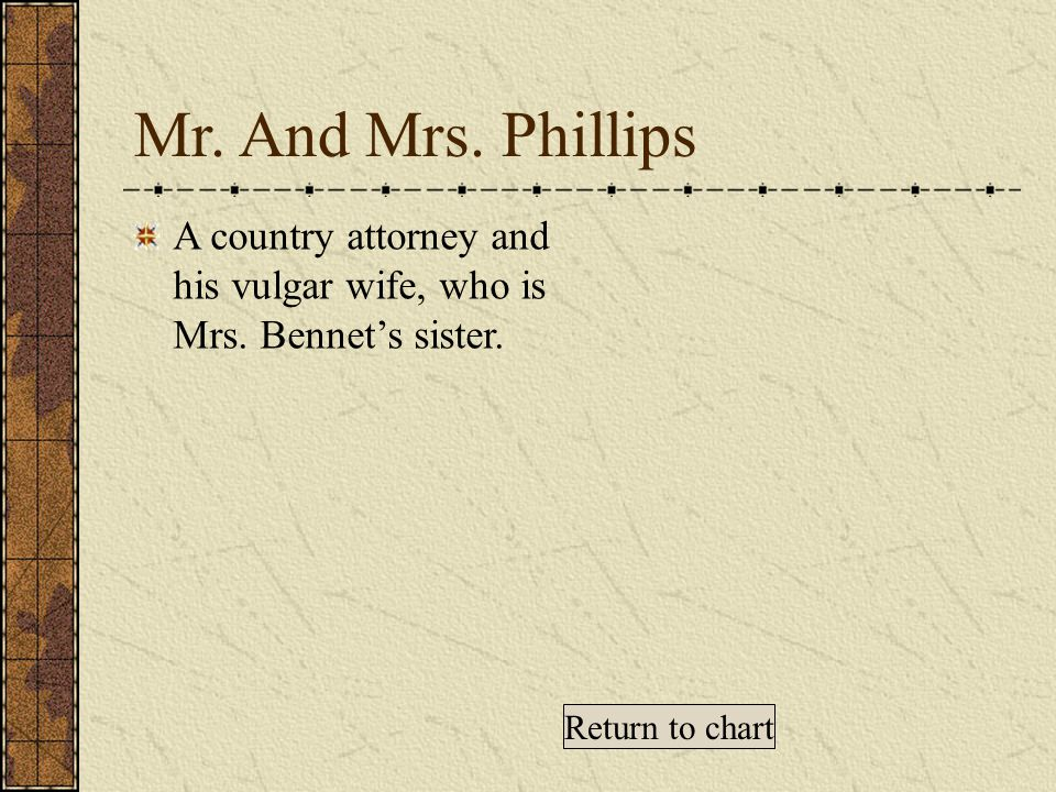 Mr. And Mrs. Phillips A country attorney and his vulgar wife, who is Mrs.