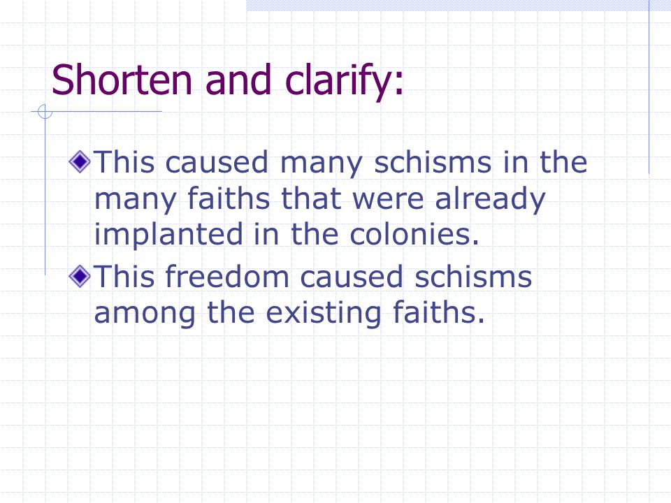 Shorten and clarify: This caused many schisms in the many faiths that were already implanted in the colonies.