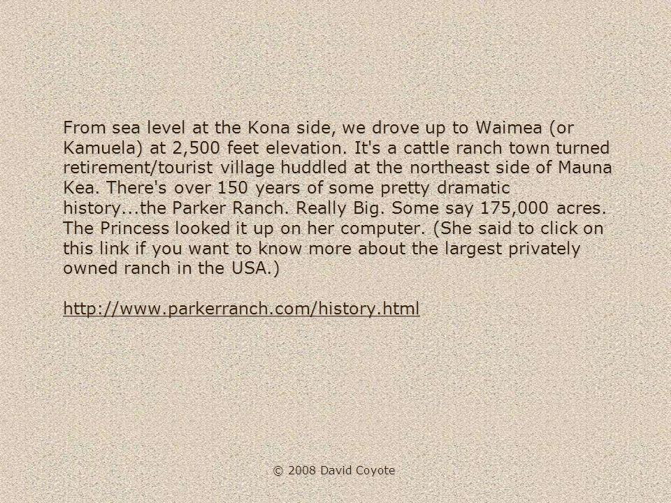 © 2008 David Coyote From sea level at the Kona side, we drove up to Waimea (or Kamuela) at 2,500 feet elevation.