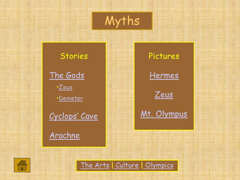 The ArtsThe Arts | Culture | Olympics Culture Olympics Stories The Gods Zeus Demeter Cyclops' Cave Arachne Pictures Hermes Zeus Mt.