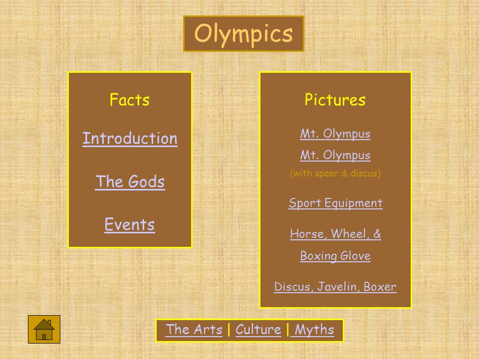 The ArtsThe Arts | Culture | MythsCulture Myths Facts Introduction The Gods Events Pictures Mt.
