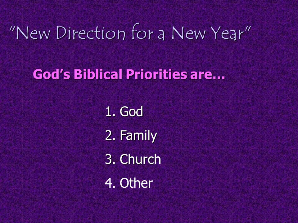 New Direction for a New Year God's Biblical Priorities are… 1.God 2.Family 3.Churc 3.Church 4.Other