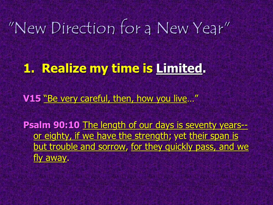 New Direction for a New Year 1. Realize my time is Limited.