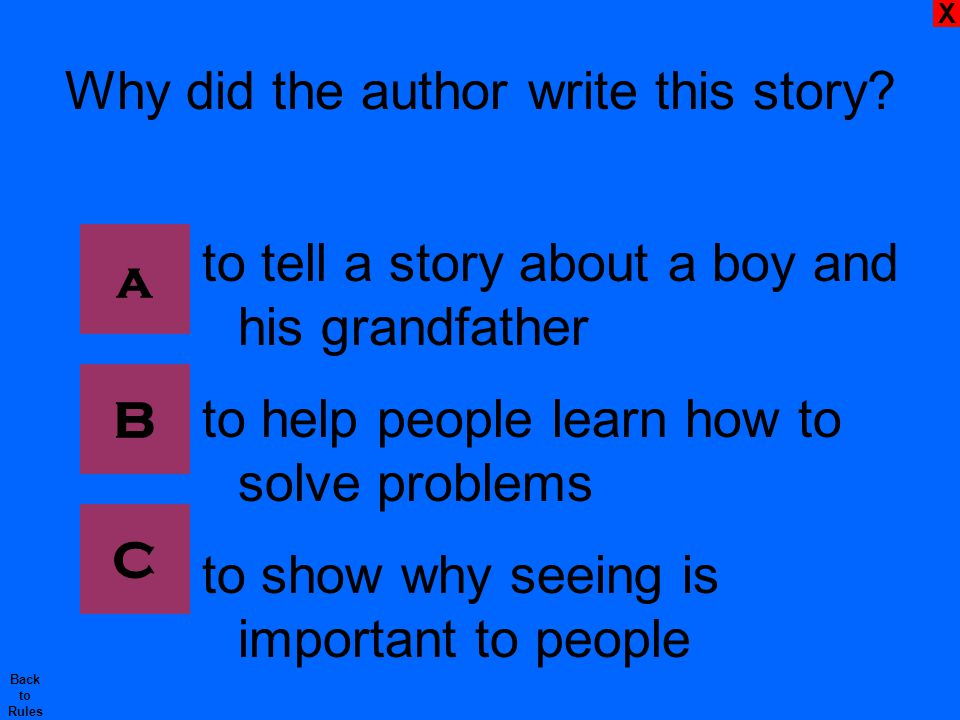 X Back to Rules Why did the author write this story.
