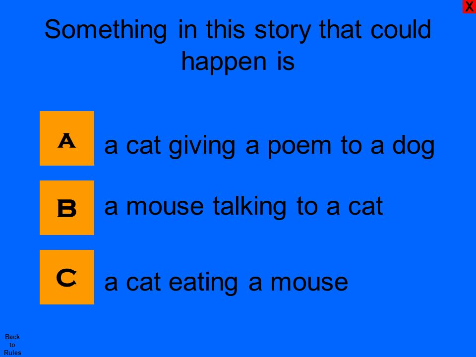 X Back to Rules Something in this story that could happen is a cat giving a poem to a dog a mouse talking to a cat a cat eating a mouse C B a