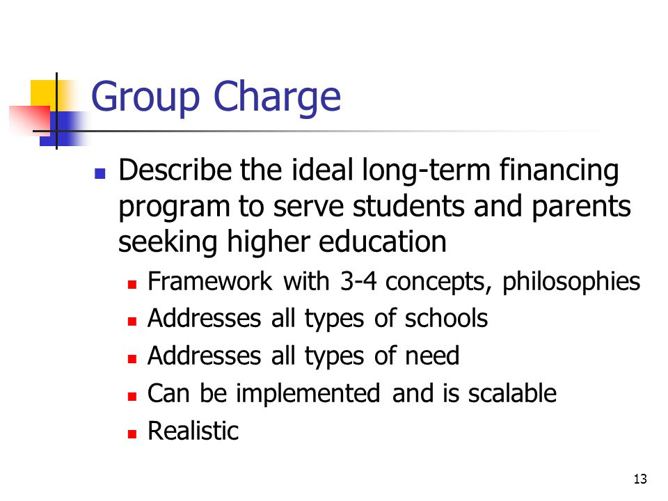 13 Group Charge Describe the ideal long-term financing program to serve students and parents seeking higher education Framework with 3-4 concepts, philosophies Addresses all types of schools Addresses all types of need Can be implemented and is scalable Realistic