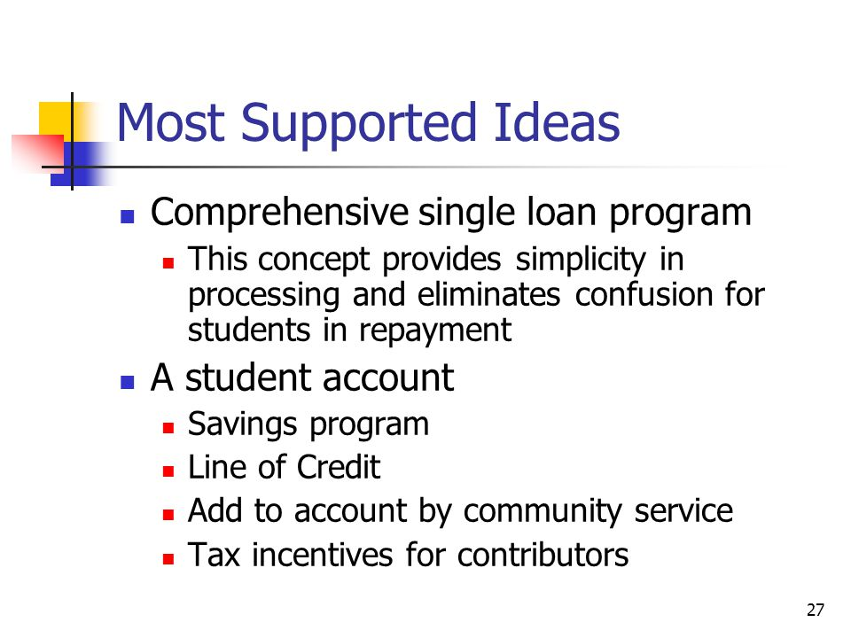 27 Most Supported Ideas Comprehensive single loan program This concept provides simplicity in processing and eliminates confusion for students in repayment A student account Savings program Line of Credit Add to account by community service Tax incentives for contributors