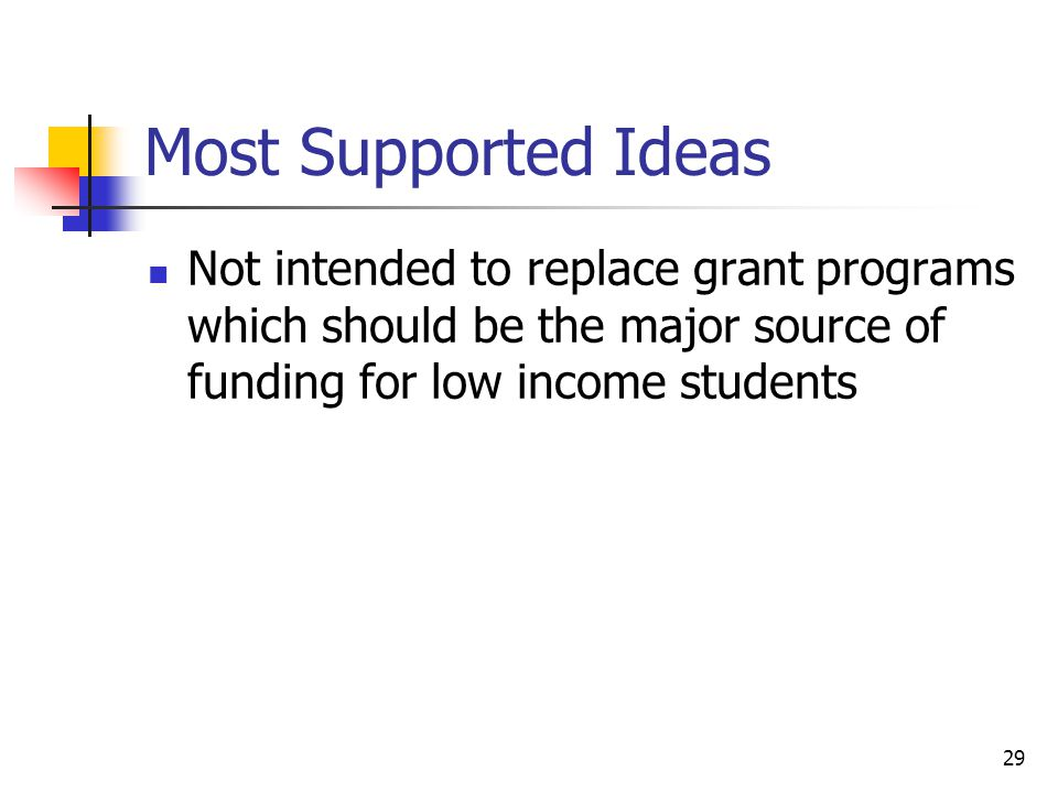 29 Most Supported Ideas Not intended to replace grant programs which should be the major source of funding for low income students