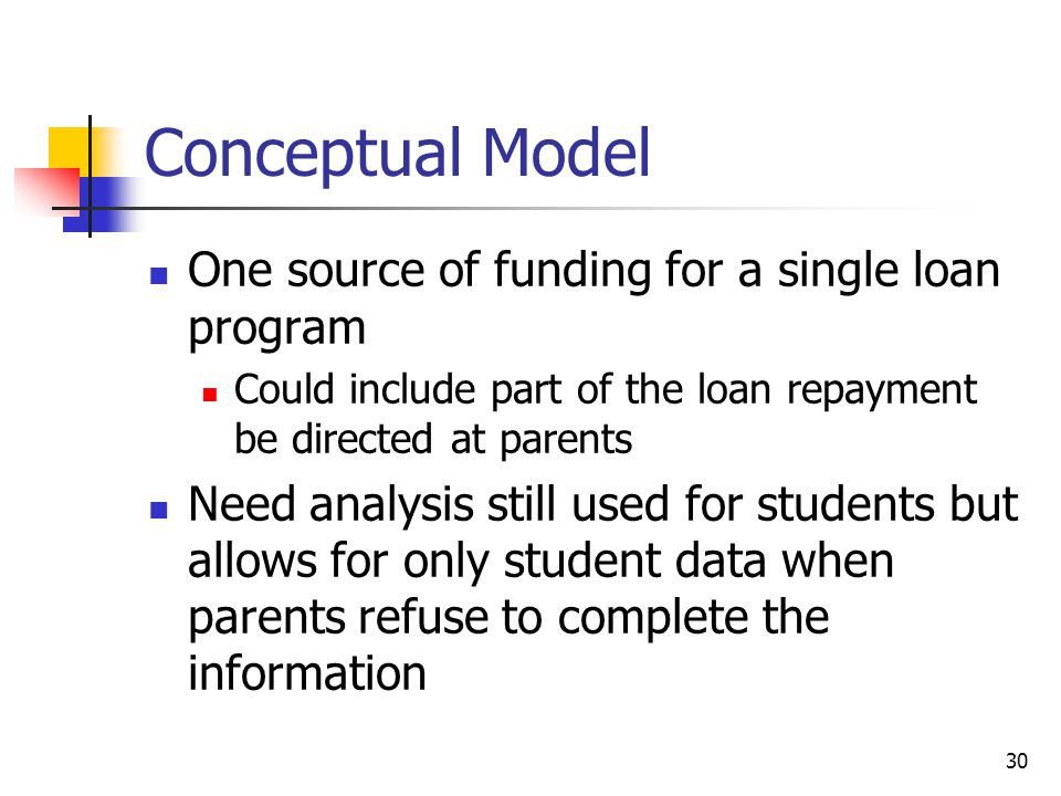 30 Conceptual Model One source of funding for a single loan program Could include part of the loan repayment be directed at parents Need analysis still used for students but allows for only student data when parents refuse to complete the information