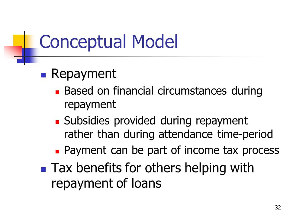 32 Conceptual Model Repayment Based on financial circumstances during repayment Subsidies provided during repayment rather than during attendance time-period Payment can be part of income tax process Tax benefits for others helping with repayment of loans