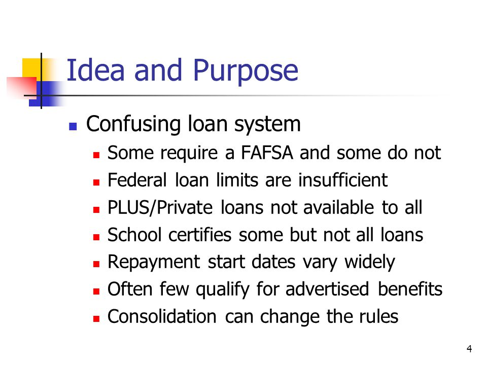 5 Idea and Purpose Confusing loan system Private loans have answered a real call for help, but at a cost Schools increasingly need time and expertise to evaluate private loans Helping students and parents understand advantages and disadvantages of private loans or specific private loans is time consuming