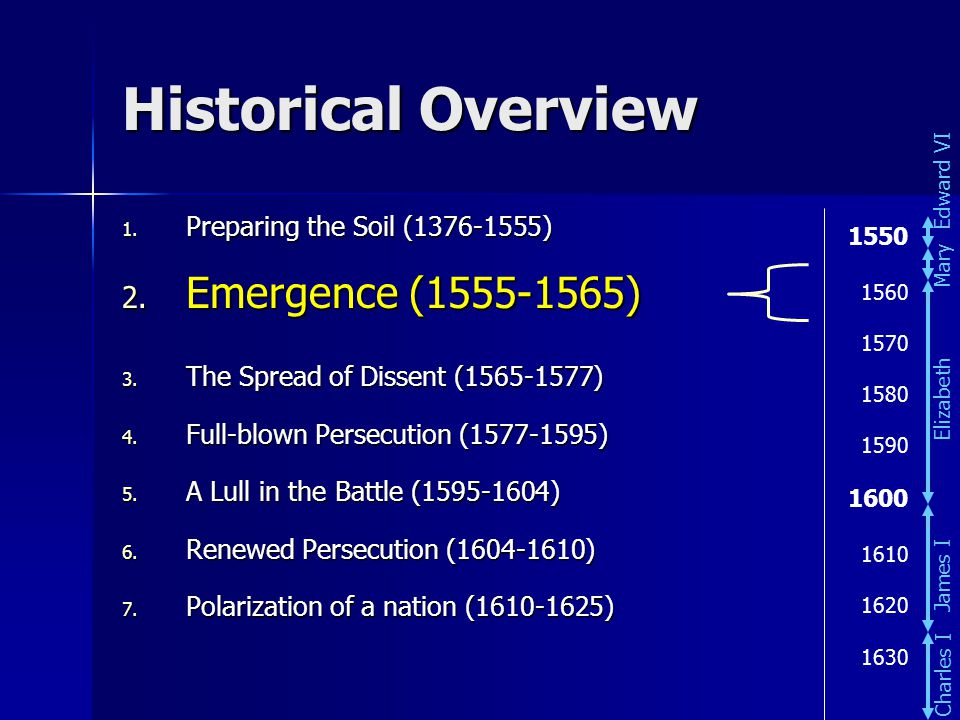 Historical Overview 1. Preparing the Soil (1376-1555) 2. Emergence (1555-1565) 3. The Spread of Dissent (1565-1577) 4. Full-blown Persecution (1577-15