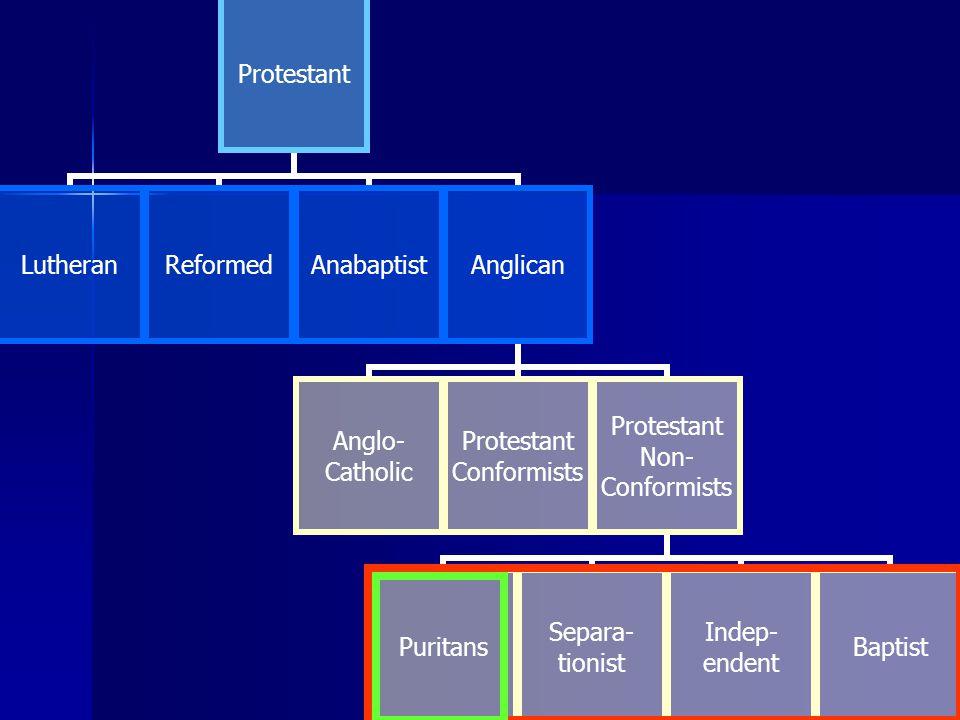 Protestant LutheranReformedAnabaptistAnglican Anglo-Catholic Protestant Conformists Protestant Non- Conformists PuritansSepara-tionistIndep-endentBaptist