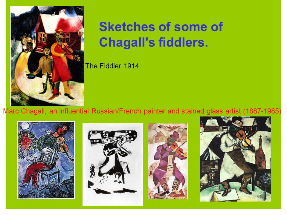 Sketches of some of Chagall s fiddlers.