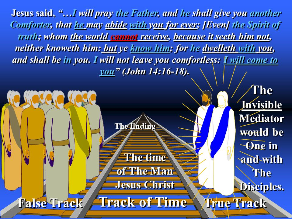 True Track Track of Time The Ending False Track The time of The Man Jesus Christ The time of The Man Jesus Christ The Invisible Mediator would be One in and with The Disciples.
