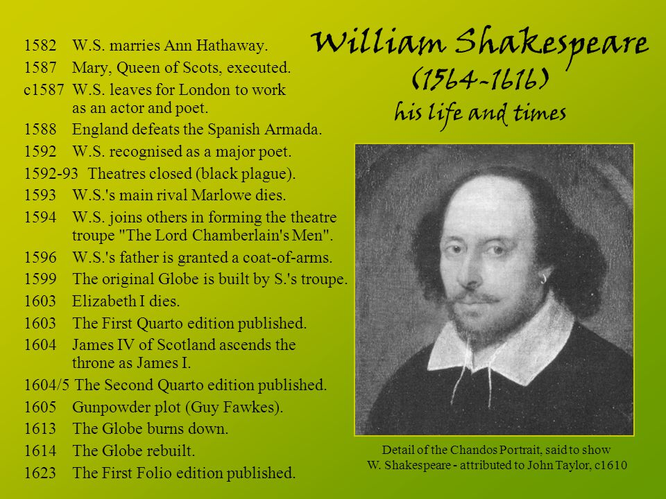 William Shakespeare (1564-1616) his life and times 1582 W.S. marries Ann Hathaway. 1587 Mary, Queen of Scots, executed. c1587W.S. leaves for London to