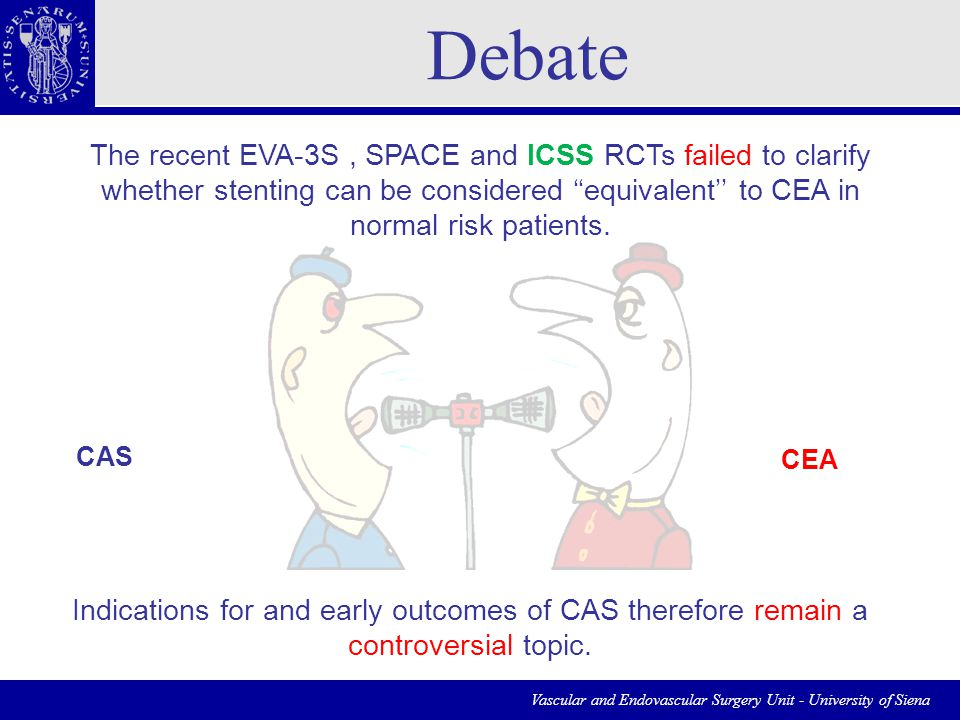 Vascular and Endovascular Surgery Unit - University of Siena The recent EVA-3S, SPACE and ICSS RCTs failed to clarify whether stenting can be considered ''equivalent'' to CEA in normal risk patients.