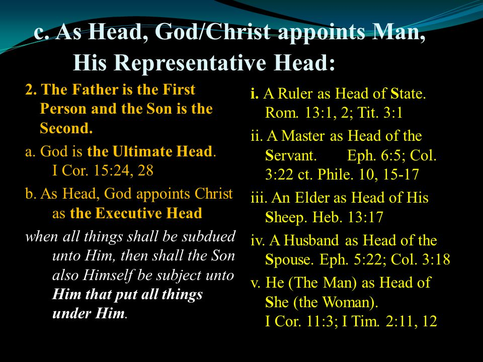 c. As Head, God/Christ appoints Man, His Representative Head: 2.