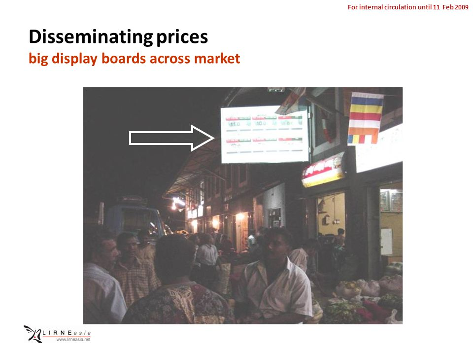 For internal circulation until 11 Feb 2009 Disseminating prices big display boards across market