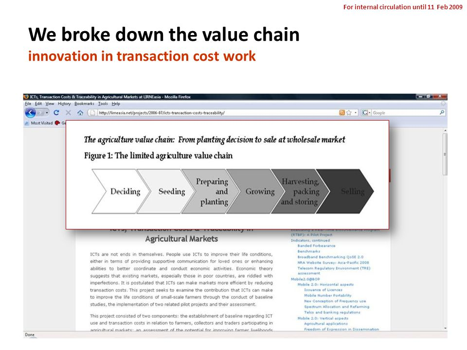 For internal circulation until 11 Feb 2009 We broke down the value chain innovation in transaction cost work